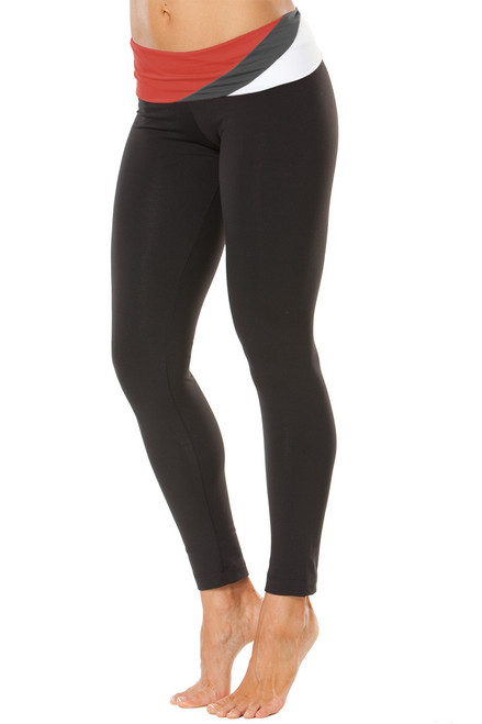 """Wind Rolldown Long Leggings- RUST-METAL-WHITE ON BLK - SMALL 27"""" (1 AVAILABLE)"""