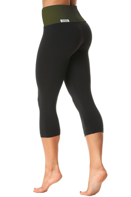 High Waist 3/4 Leggings - Contrast on Supplex