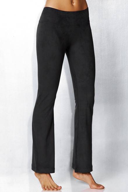 Sport Band Bootleg Pants - Stretch Suede