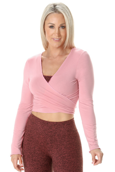 Long Sleeves Wrap Crop Top - Rayon