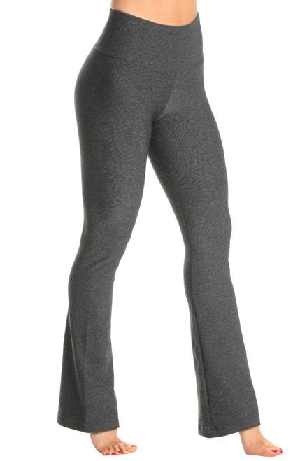 High Waist Bootleg Pants - Solid Supplex