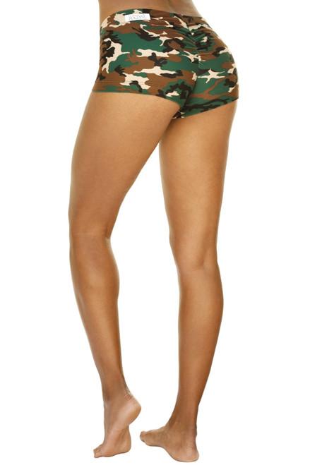 Scrunch Back Lowrise Mini Shorts - Camo