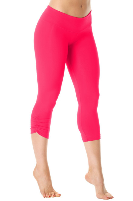 Sport Band Side Gather 3/4 Leggings - Begonia - Final Sale