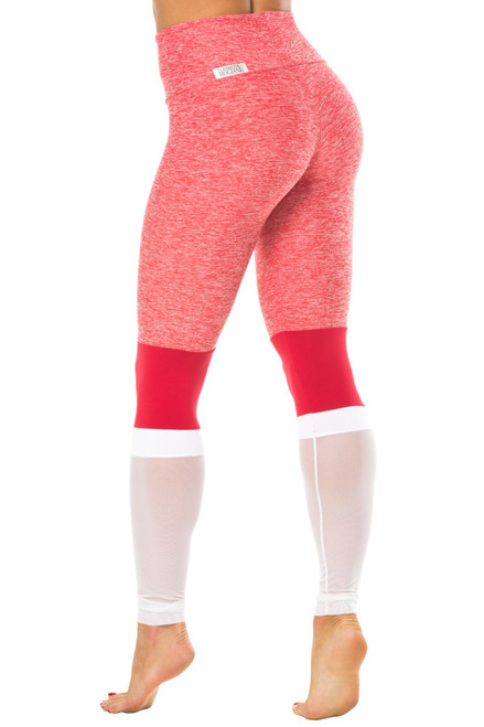 Adonis High Waist Leggings - Mesh-Supplex Accent on Butter