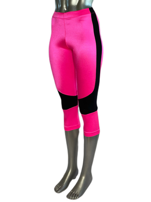 High Waist 3/4 Leggings -  Supplex - Hot Pink with Black stripe- Final Sale - Smal - 20 inseam l (1 Available)