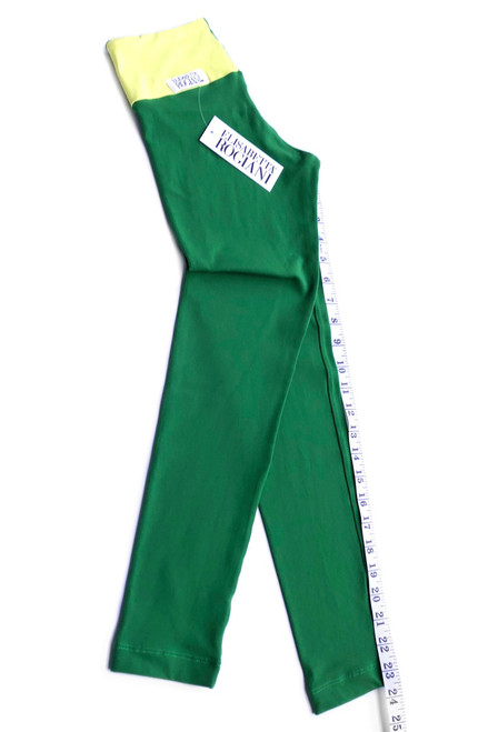 """Graphic Sport Band Leggings - Supplex - Yellow Accent on Emerald - Final Sale - Small - 23.5"""" Inseam (1 Available)"""