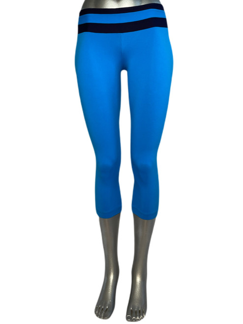Black Double Stripe Band on Royal 3/4 Leggings - Supplex - Black Accent on Royal - Final Sale - Medium - 20 Inseam (1 Available)