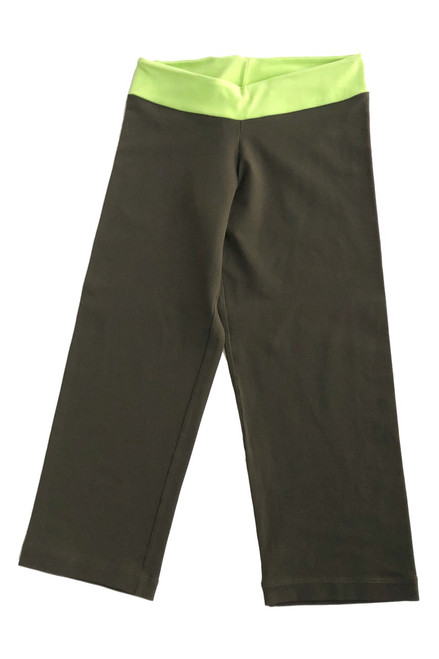 Mini Band 3/4 Leggings - Supplex - Lime Accent on Army - Final Sale - Small (! Available)