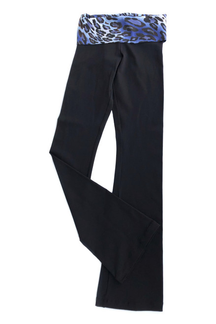 "Rolldown Bootleg Pants - Leopard Blue Print Roll on Black Supplex - Final Sale - Medium - 34"" Inseam (1 Available)"