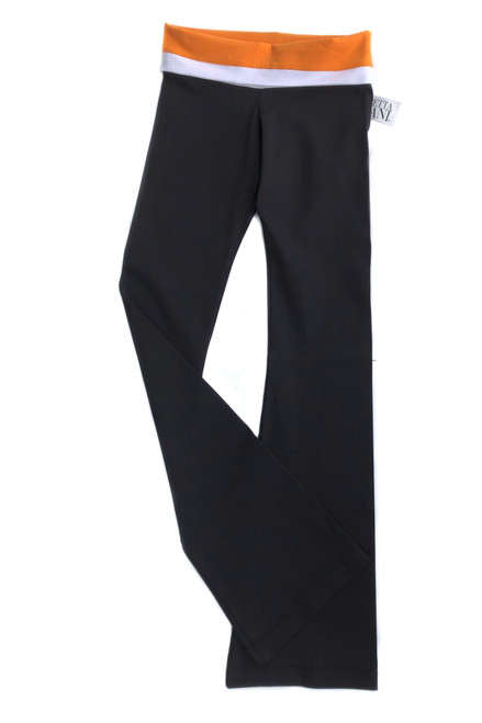 "Double Rolldown Pants- Bootleg - Supplex - Orange and White Accent on Black - Final Sale - Medium - 33"" Inseam (1 Available)"