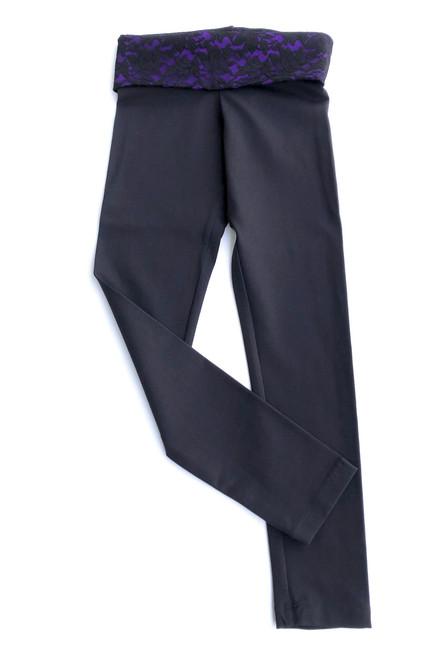 Rolldown 7/8 Leggings - Black Lace over Iris Supplex Accent on Black Supplex - Final Sale - Small (1 Available)