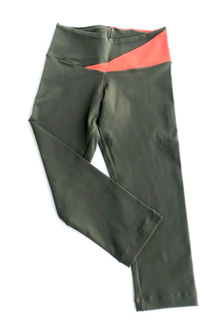 Graphic Sport Band Leggings - Supplex - Tangerine Accent on Army - Final Sale - Small (1 Available)