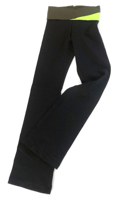 """Graphic Rolldown Bootleg Pants - Supplex - Lime and Army Accent on Black - Final Sale - Large - 33"""" Inseam (1 Available)"""