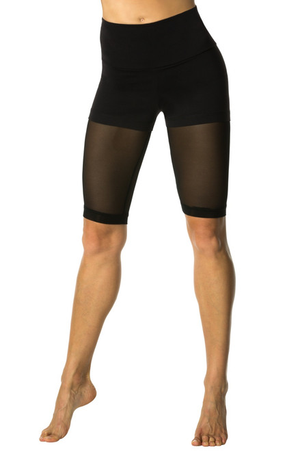 Track Layered High Waist Shorts Over Mesh - Supplex