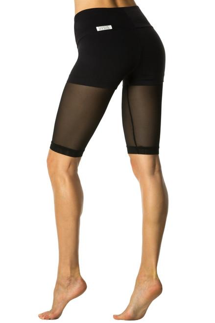 Track Layered High Waist Shorts Over Mesh - Supplex
