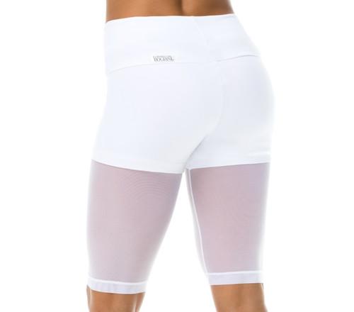 Track Layered High Waist Shorts - Supplex over Mesh