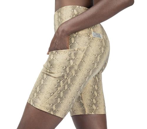Cobra Pocket Bike High Waist Shorts - Snake Print