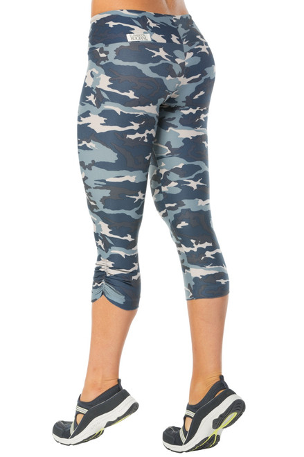 Sport Band Side Gather 3/4 Leggings - Camo
