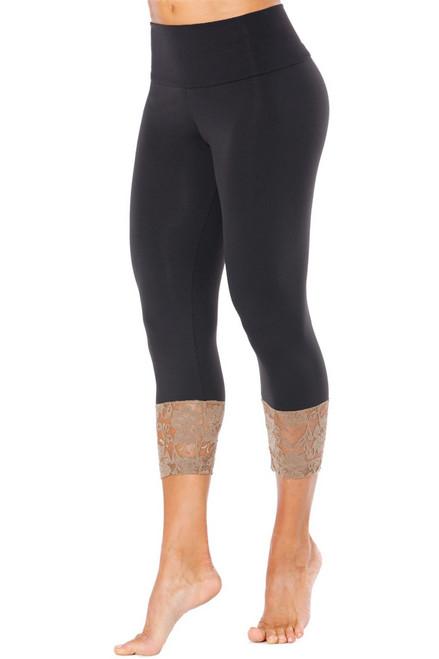 Modella High Waist Long Cuff 3/4 Leggings - Lace Accent on Supplex