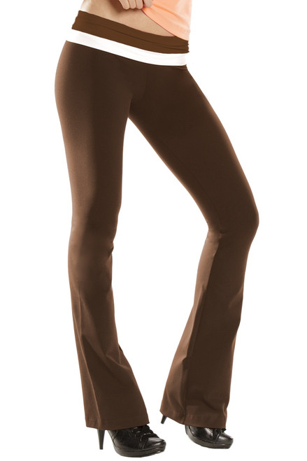 Double Rolldown Bootleg Pants - Supplex - Final Sale - Chocolate and White Accent on Chocolate - Small - 27.5' Inseam