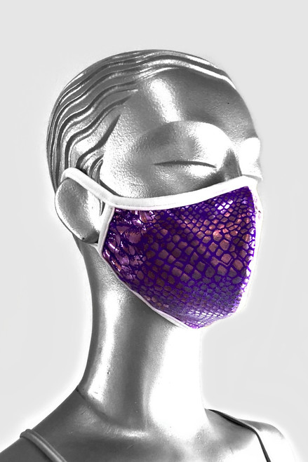 NON-MEDICAL Shaped Face Cover With Ear Loops - LIMITED EDITION - Metallic Snake - Purple