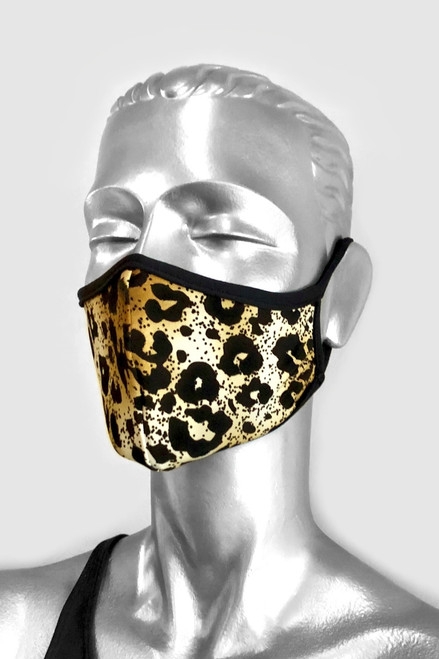 NON-MEDICAL Shaped Face Cover With Ear Loops - LIMITED EDITION - Cheetah - Beige