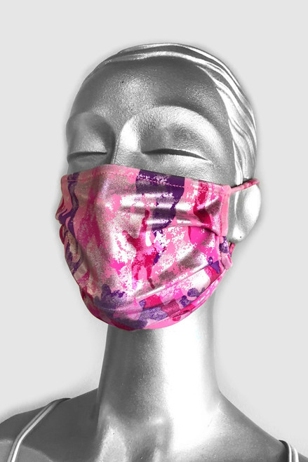 NON-MEDICAL Pleated Face Cover With Ear Loops - LIMITED EDITION - Metallic Pink Camo