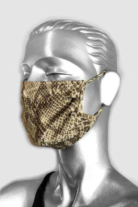 NON-MEDICAL Pleated Face Cover With Ear Loops - LIMITED EDITION - Gold Snake