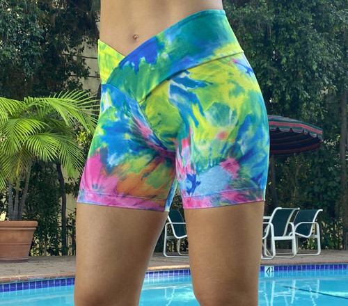 High Waist V-Wrap Shorts- Print