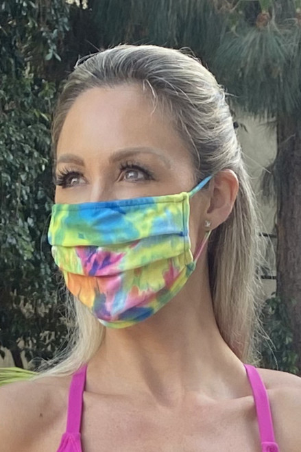 NON-MEDICAL Pleated Face Cover With Ear Loops - Colorforia - Tie Dye