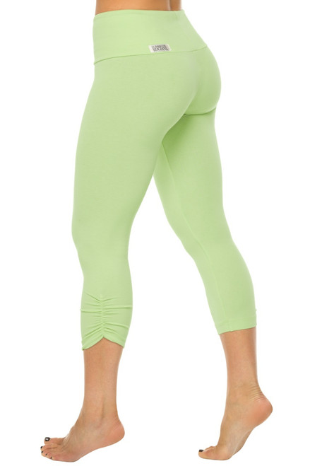 High Waist Side Gather 3/4 Leggings - Stretch Cotton