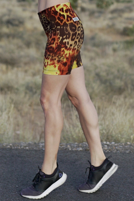 Cobra Bike High Waist Shorts -Tiger Rust Print Tiger Rust Print