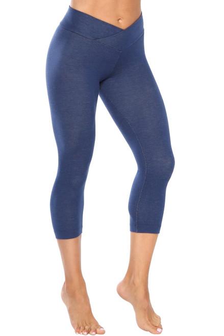High Rise V-Wrap 3/4 Leggings - Stretch Cotton