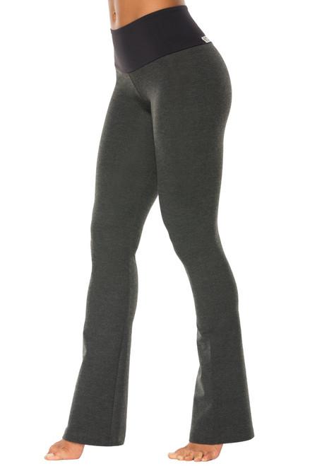 """High Waist Bootleg Pants - Final Sale - Black Supplex Accent on Dark Grey Cotton - XS- 30.5"""" Inseam"""
