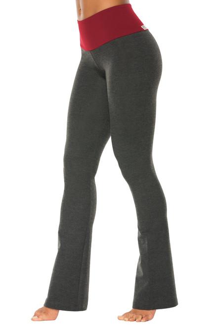"""High Waist Bootleg Pants - Final Sale - Dark Red Supplex Accent on Dark Grey Cotton - Medium - 34"""" Inseam"""
