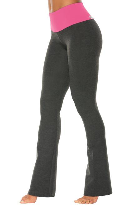 "High Waist Bootleg Pants - Final Sale - Candy Pink Supplex Accent on Dark Grey Cotton - Large - 33"" Inseam"