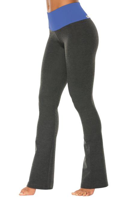 "High Waist Bootleg Pants - Final Sale - Malibu Supplex Accent on Dark Grey Cotton - Large - 33"" Inseam"