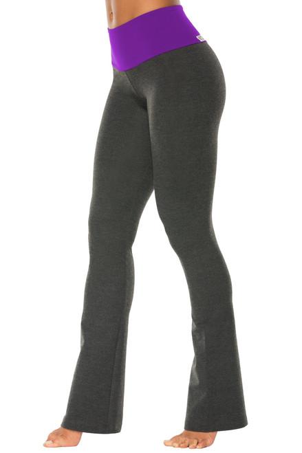 """High Waist Bootleg Pants - Final Sale - Iris Supplex Accent on Dark Grey Cotton - Large - 33.5"""" Inseam"""