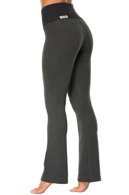 "High Waist Bootleg Pants - Final Sale - Black Supplex Accent on Dark Grey Cotton - Large - 33.5"" Inseam"
