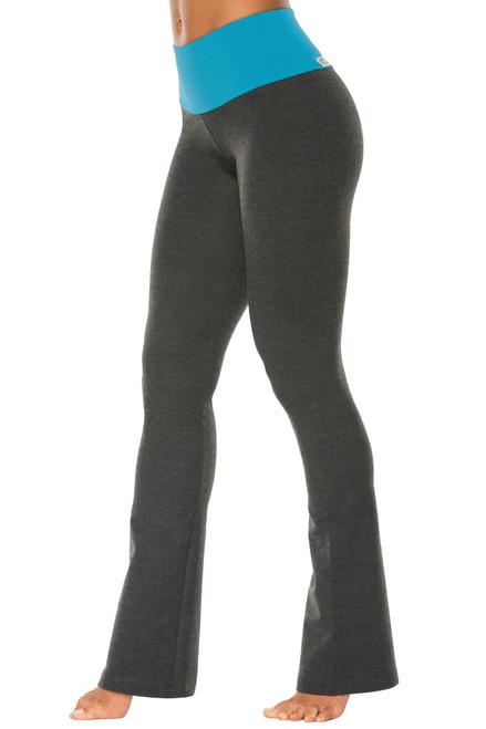 "High Waist Bootleg Pants - Final Sale - Turquoise Supplex Accent on Dark Grey Cotton - Large - 33.5"" Inseam"