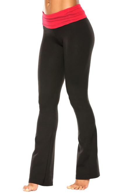 "Rolldown Bootleg Pants - Final Sale - Vegas Red Supplex Accent on Black Cotton - Small - 34"" Inseam"