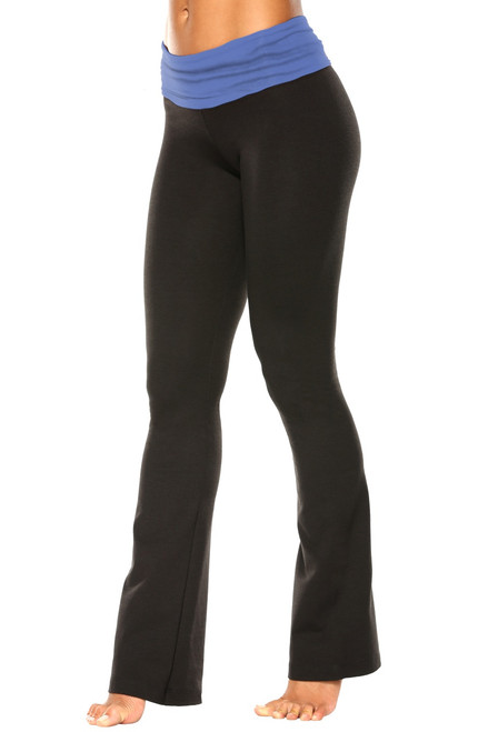 "Rolldown Bootleg Pants - Final Sale - MalibuSupplex Accent on Black Cotton - Medium - 34"" Inseam"