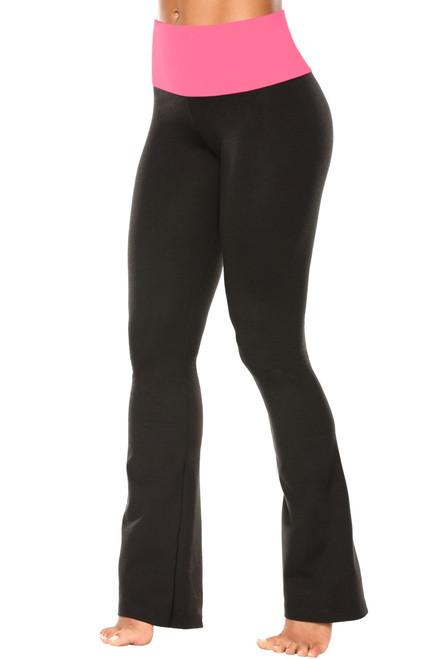 "High Waist Bootleg Pants - Final Sale - Candy Pink Supplex Accent on Black Cotton - Medium - 34"" Inseam"