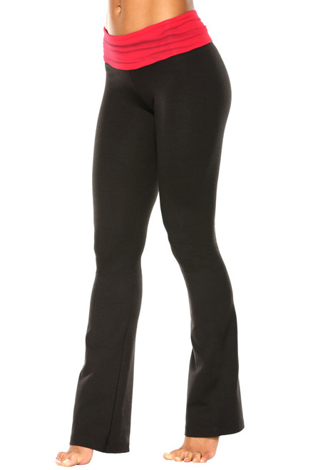 "Rolldown Bootleg Pants - Final Sale - Vegas Red Supplex Accent on Black Cotton - Large - 33"" Inseam"