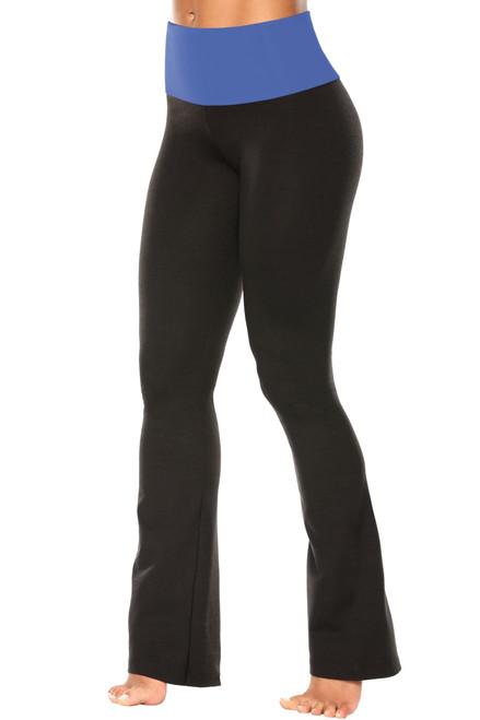 "High Waist Bootleg Pants - Final Sale - Malibu Supplex Accent on Black Cotton - Large - 33"" Inseam"