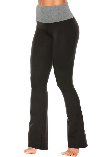 "High Waist Bootleg Pants - Final Sale - Medium Grey Accent on Black Cotton - Large - 33"" Inseam"