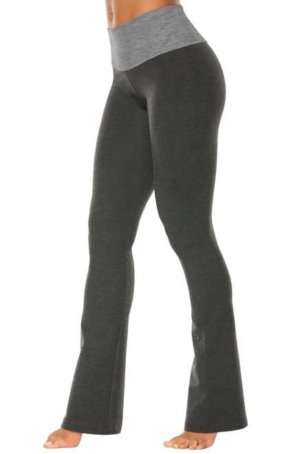 "High Waist Bootleg Pants - Final Sale - Medium Grey Accent on Dark Grey Cotton - Large - 34"" Inseam"