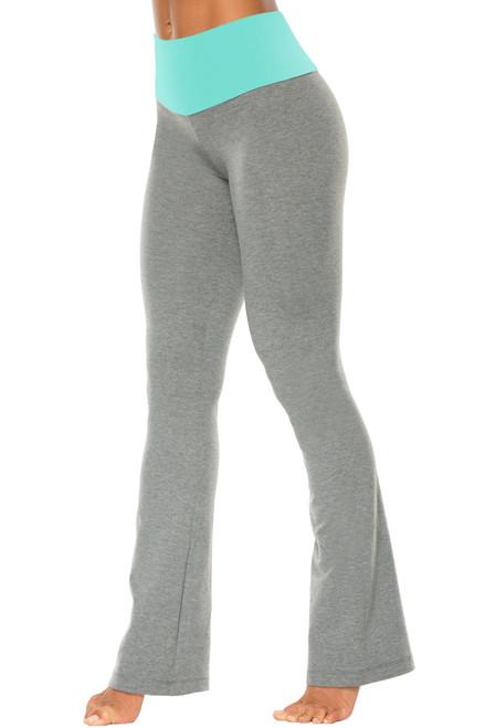 "High Waist Bootleg Pants - Final Sale - Ice Supplex Accent on Medium Grey Cotton - XS - 31"" Inseam"