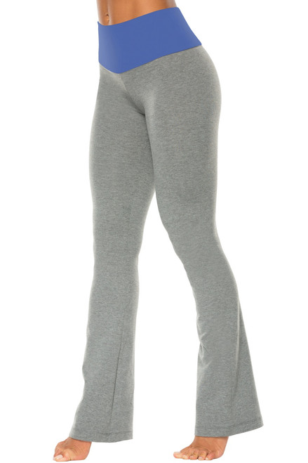 "High Waist Bootleg Pants - Final Sale - Malibu Supplex Accent on Medium Grey Cotton - Small - 33.5"" Inseam"