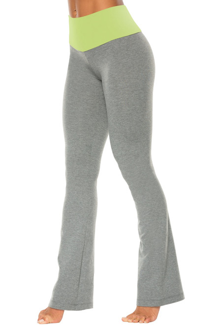 "High Waist Bootleg Pants - Final Sale - Lime Supplex Accent on Medium Grey Cotton - Small - 33"" Inseam"